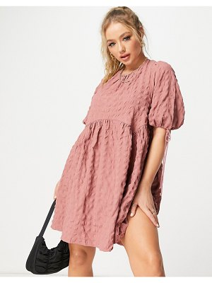 ASOS DESIGN textured cut out back mini smock dress in pink