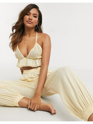 ASOS DESIGN textured picot trim peplum beach top two-piece in washed sand-beige