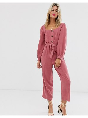 ASOS DESIGN button front tie waist puff sleeve jumpsuit with long sleeves-pink