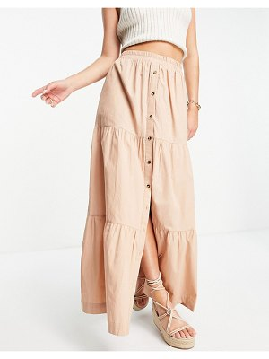ASOS DESIGN tiered button front maxi skirt in tan-brown