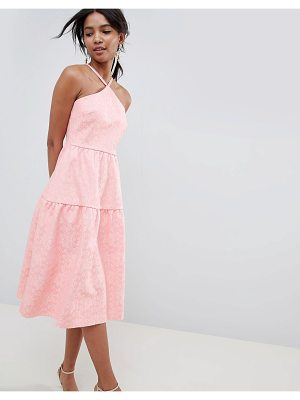 ASOS DESIGN tiered lace prom dress