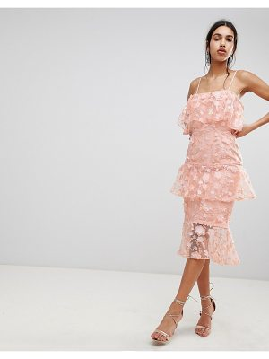 Asos Tiered Pencil Midi Dress In 3D Floral Embroidery