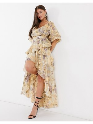 ASOS DESIGN tiered ruffle maxi dress in floral print with satin and rope trim inserts-neutral