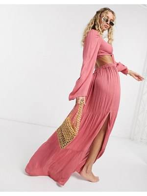 ASOS DESIGN tired maxi beach skirt two-piece in berry pink