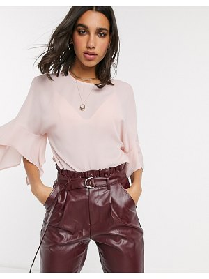 ASOS DESIGN top with fluted sleeve in blush-pink