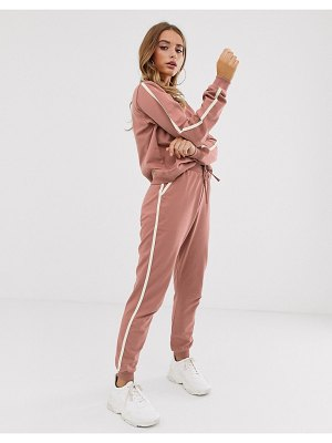 ASOS DESIGN tracksuit cute sweat / basic jogger with tie with contrast binding