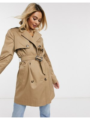 ASOS DESIGN trench coat in stone