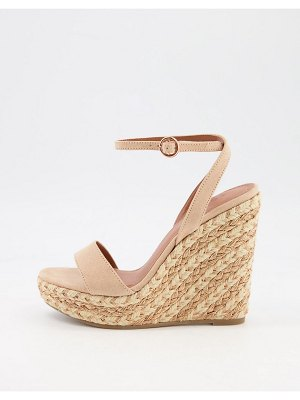 ASOS DESIGN tula espadrille wedges in beige-neutral