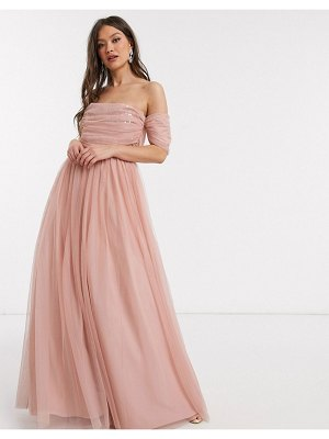 ASOS DESIGN tulle scatter sequin maxi dress-pink