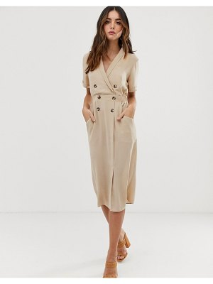 ASOS DESIGN tux midi dress-brown
