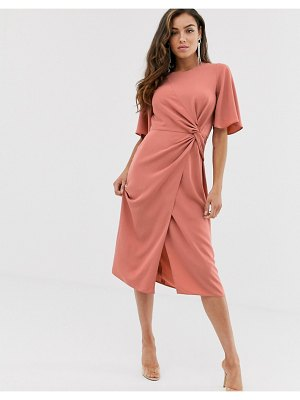 ASOS DESIGN twist front midi dress with angel sleeve in terracotta-pink
