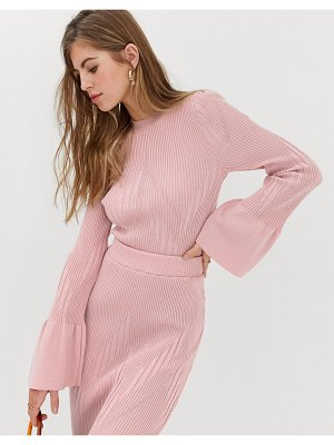 ASOS DESIGN two-piece flare sleeve crop sweater