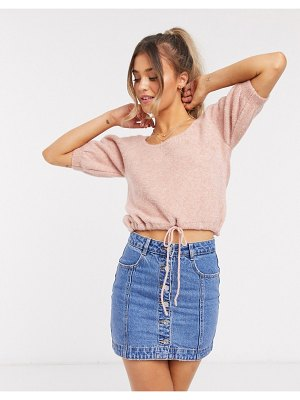 ASOS DESIGN two-piece knitted crop top with tie waist in dusky pink