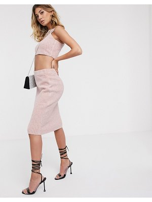 ASOS DESIGN two-piece knitted pencil skirt-pink