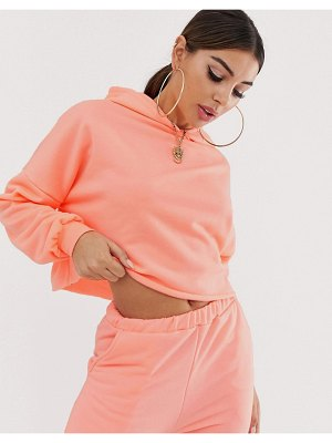 ASOS DESIGN two-piece oversized hoodie in neon coral