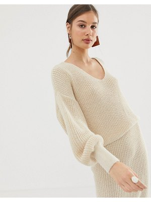 ASOS DESIGN two-piece v neck sweater with volume sleeve