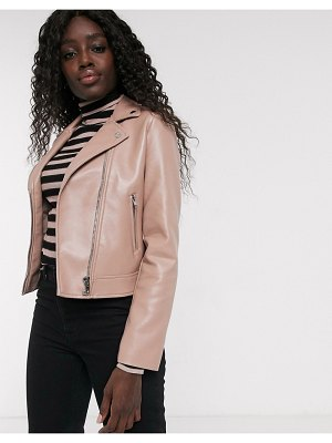 ASOS DESIGN ultimate faux leather biker jacket in pink