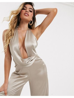 ASOS DESIGN ultra plunge jumpsuit with drape satin detail