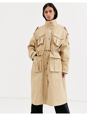 ASOS DESIGN utility longline cotton jacket in stone