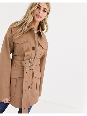 ASOS DESIGN utility trench jacket in stone