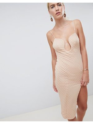 Asos DESIGN deep v bar midi bodycon dress with thigh split in rib jersey