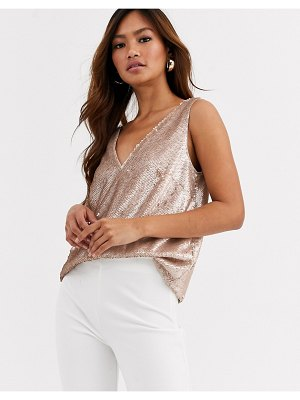 ASOS DESIGN v neck sequin cami