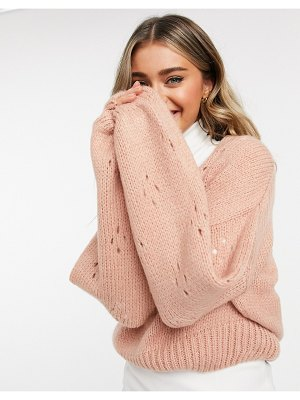 ASOS DESIGN v-neck sweater with sleeve stitch detail in dusky pink