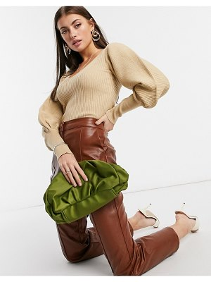 ASOS DESIGN v-neck sweater with volume sleeve in caramel-tan