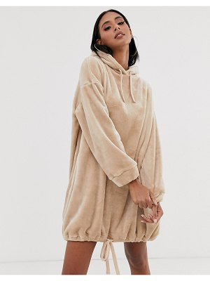 ASOS DESIGN velour hoody dress in camel
