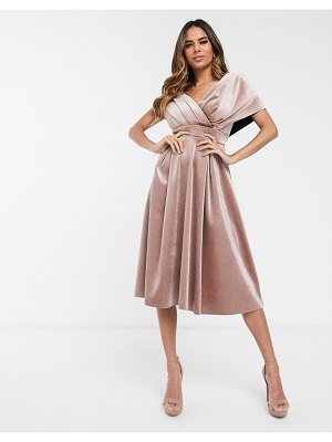 ASOS DESIGN velvet fallen shoulder prom dress with tie detail-beige