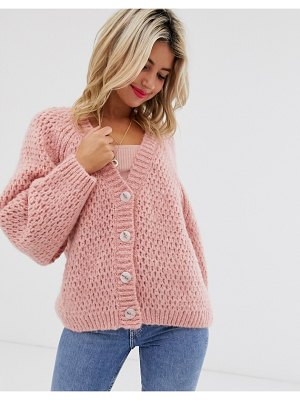 ASOS DESIGN waffle stitch cardigan with volume sleeve-pink