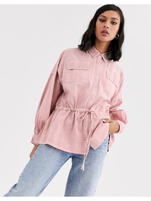 ASOS DESIGN washed long sleeve shirt with tie waist-pink