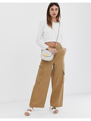ASOS DESIGN wide leg chino pants with utility pockets