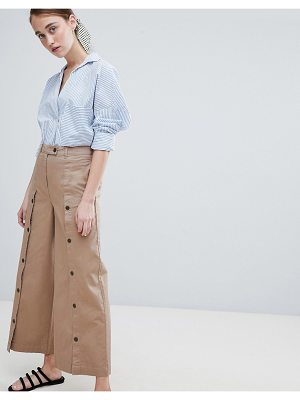 ASOS DESIGN wide leg pants with button front