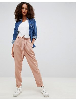 ASOS DESIGN woven peg pants with obi tie