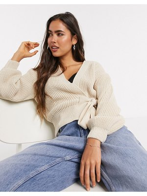 ASOS DESIGN wrap cardigan with tie front in stone