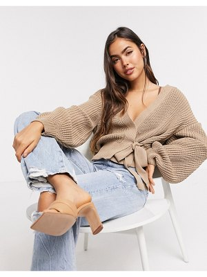 ASOS DESIGN wrap cardigan with tie front in taupe-stone