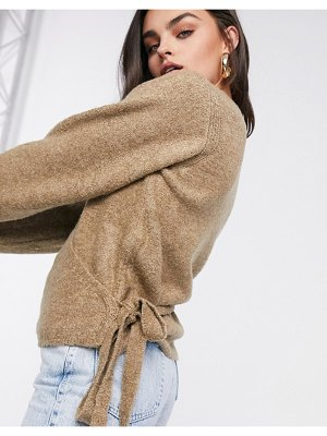 ASOS DESIGN wrap fluffy sweater in brown-stone