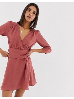 ASOS DESIGN wrap mini dress with ruched waist-pink