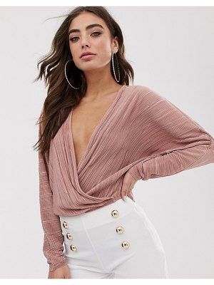 ASOS DESIGN wrap top in plisse with batwing sleeve-pink
