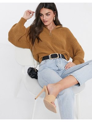 ASOS DESIGN zip front sweater with collar in camel-stone