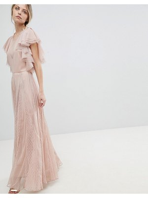 ASOS DESIGN asos dobby and mesh mix ruffle maxi dress