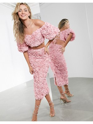 ASOS Edition 3d floral organza off shoulder top two-piece-pink