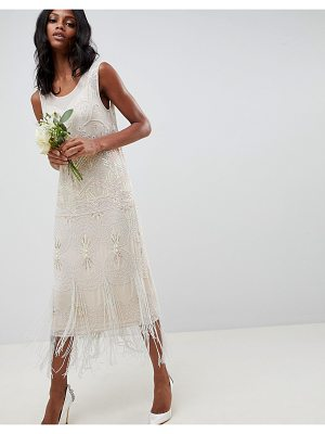 ASOS Edition fringe embellished midi wedding dress with a low back