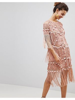 ASOS Edition asos edition loose t-shirt dress with embroidery and tassels mini dress