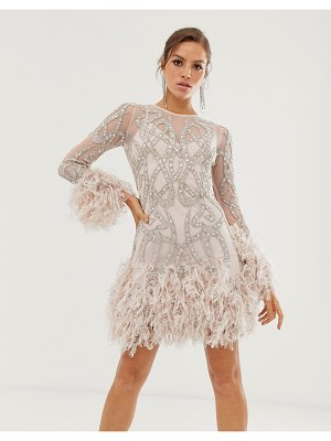 ASOS Edition crystal embellished mini dress with faux feather hem-pink