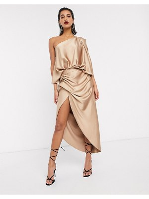ASOS Edition drape asymmetric maxi dress in satin-gold