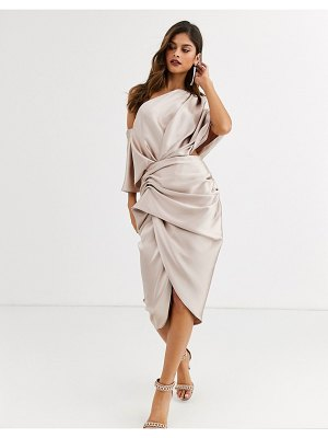 ASOS Edition drape asymmetric midi dress in satin-pink