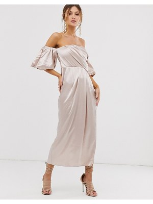 ASOS Edition drape off shoulder midi dress in satin