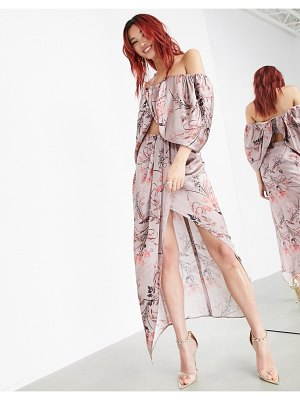 ASOS Edition drape split midi skirt in wild flower print-pink
